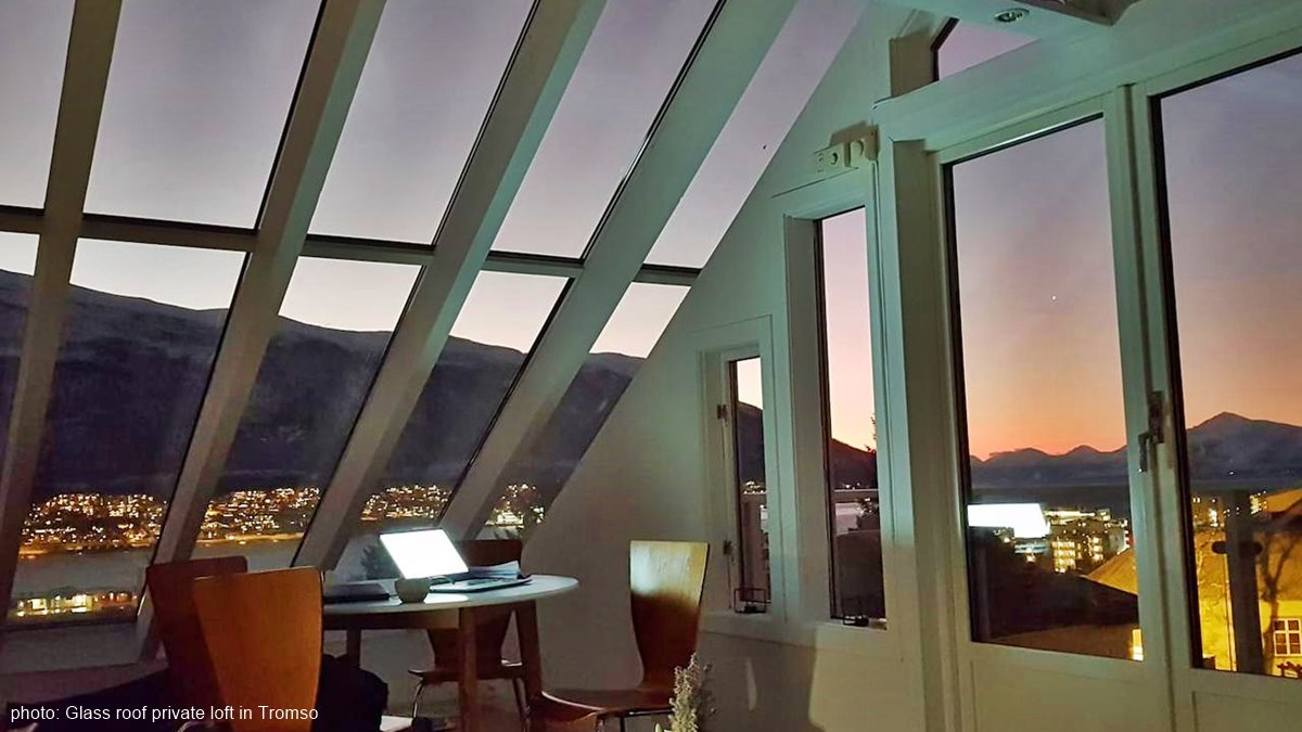 Glass roof private loft in Tromso